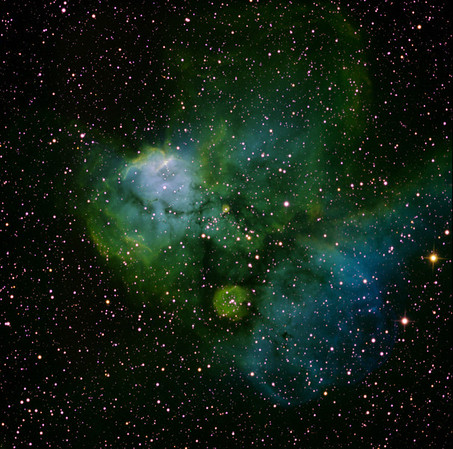 NGC 2467. A bright emission nebula in Puppis. Without much imagination one can see the dog Snoopy, more or less facing the camera. To the lower right is a frothy complex emitting in [O-III].