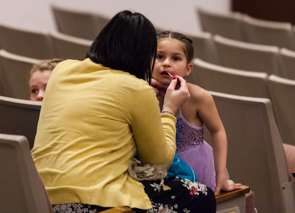Tibby McDowell | The Sheridan Press<br /> <br /> Stephanie Aggers applies lipgloss to Elliot Aggers during auditions for the Stars of Tomorrow at Wyo Performing Arts and Education Center Tuesday Jan. 30, 2018.