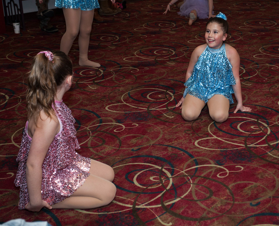 Tibby McDowell | The Sheridan Press<br /> <br /> Aliegh Tellez, right, practices in the lobby with one of her dance partners JoAnne Kahm, left, during auditions for the Stars of Tomorrow at Wyo Performing Arts and Education Center Tuesday Jan. 30, 2018.