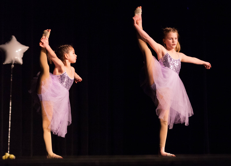 Tibby McDowell | The Sheridan Press<br /> <br /> Elliot Aggers, left, and Alivia Denzine, right, perform a dance during auditions for Stars of Tomorrow at Wyo Performing Arts and Education Center Tuesday Jan. 30, 2018.