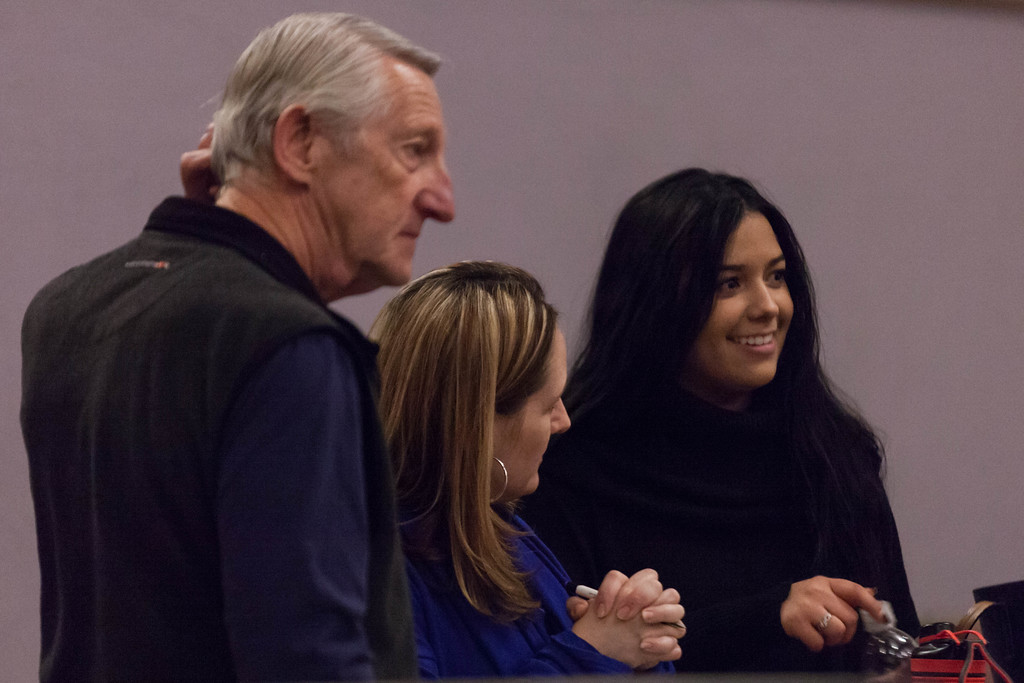 Tibby McDowell | The Sheridan Press<br /> <br /> Kiwanis member Denny Hill, left, Jaycee's member Jennifer Kahn, center, and judge Becky Bridger, right, discuss the order of performances prior to auditions for the Stars of Tomorrow at Wyo Performing Arts and Education Center Tuesday Jan. 30, 2018.