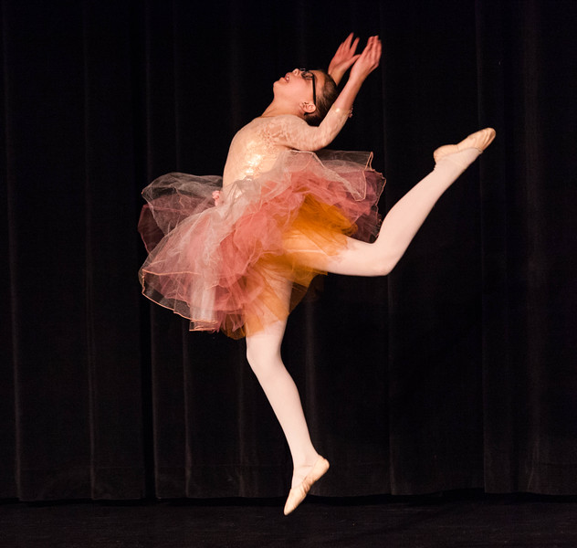 Tibby McDowell | The Sheridan Press<br /> <br /> 6th grader Anna Bickel leaps into the air during her dance performance at auditions for Stars of Tomorrow at Wyo Performing Arts and Education Center Tuesday Jan. 30, 2018.