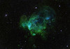 "Henize 206 in the Large Magellanic Cloud. See separate key image for location of the magnificent supernova remnant at 10 o'clock from centre and about 40% of the way out and strong in [SII]. Numerous shock fronts, very strong in [OIII] blue) suggest a menagerie of mythical creatures al in right profile.<br /> <br /> H-alpha 6hrs (green), OIII 6hrs (blue) SII 6hrs (red). STL-1100M on 20"" PlaneWave CDK on MI-750 fork mount."