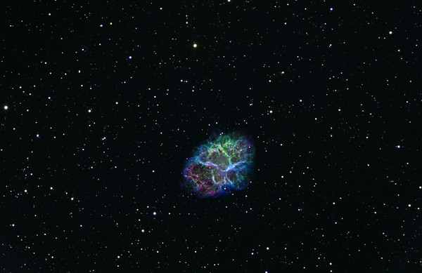 M1 or the Crab Nebula. Green H-alpha 4hrs. Blue OIII 5 hrs. Red SII 4 hrs.