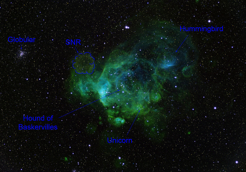 This is a low-res caption for the main image. Note the three mythical animals, all in right profile, all strong in [OIII] (blue). I take the location of the SNR (very strong in [SII]) from Kavanagh PJ et al, XMM-Newton Observations of the N 206 Superbubble in the Large Magellanic Cloud. Sources for the animals are harder to track down.