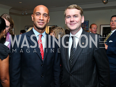 Adrian Fenty, Sen. Michael Bennett. Photo by Tony Powell. Teach for America Gala. Mandarin Oriental. May 17, 2011