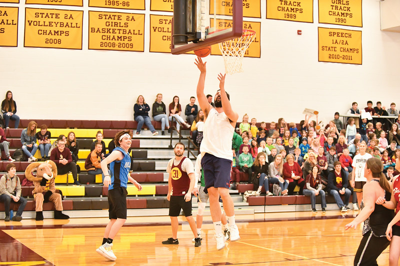 Matthew Gaston | The Sheridan Press<br>The Big Horn seniors could not find an answer for the faculties big man, Zach Schaefer. Schaefer dominated inside the paint like a young Shaquille O'Neil Thursday, Jan. 31, 2019. The Faculty defeated the Seniors 48-42.