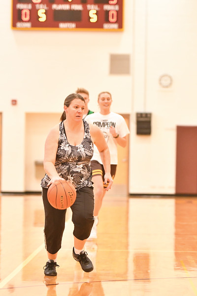 Matthew Gaston | The Sheridan Press<br>Valerie Brutlag on a break away, sets the pace for the Faculty early in the first quarter in a competive game against the Seniors at Big Horn High School Thursday, Jan. 31, 2019.