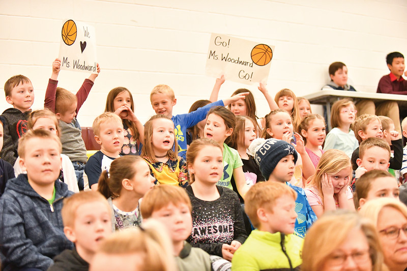 Matthew Gaston | The Sheridan Press<br>Kayla Woodward's kindergarten class was vocal in their support of Ms. Woodward during the Big Horn Fauclty verses Seniors game Thursday, Jan. 31, 2019.