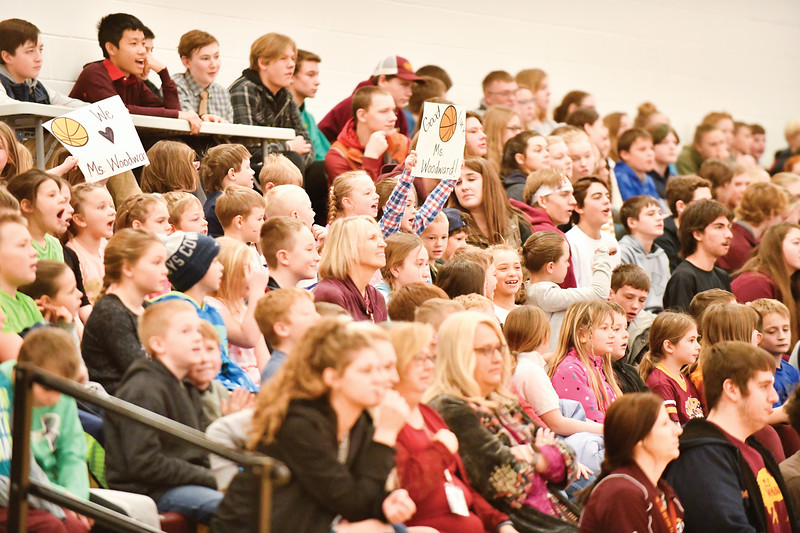 Matthew Gaston | The Sheridan Press<br>Students from all three of the Big Horn Schools gathered in the high school gym to cheer on the Fauclty as they squared off against the Senoirs Thursday, Jan. 31, 2019.
