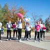 Ashleigh Fox | The Sheridan Press<br>Sheridan High School cheerleaders pump up the crowd ahead of The Link — Partners in Pink run at Whitney Commons Park Saturday, Oct. 20, 2018. Proceeds for the event go to early cancer detection and screening for patients at Sheridan Memorial Hospital.