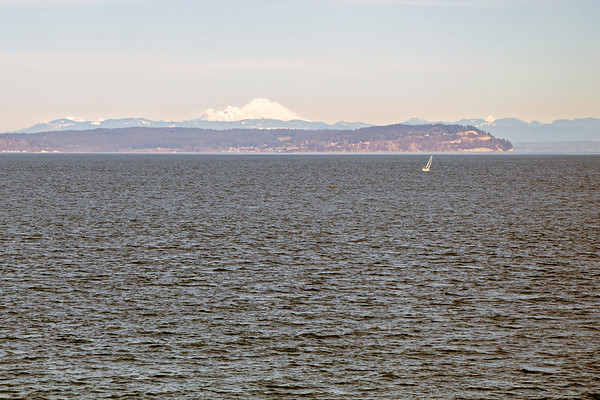 Ferry to Edmonds, with Mt Baker in the background.