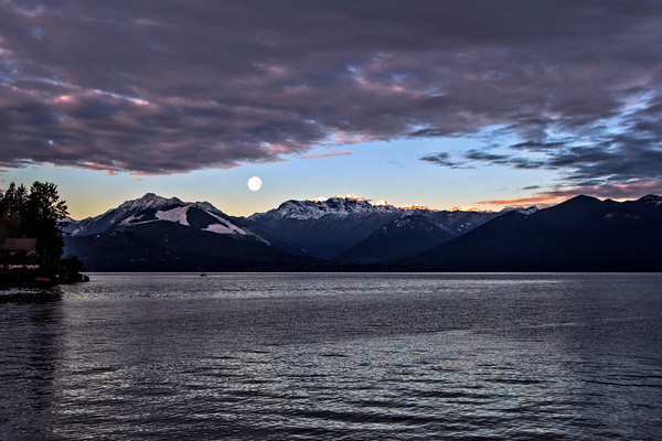 Hood Canal, Seabeck: December full moonset at sunrise over the Olympic mountains (my holiday card)