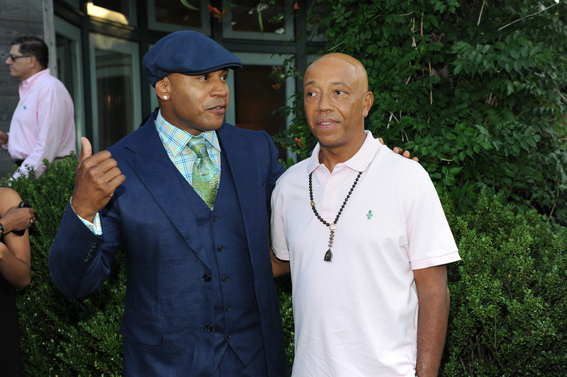 Sagaponack, NY - AUGUST 07:  LL Cool J and Russell Simmons Attends  The Red Hot Red Cross Cocktail Fundraiser, where Entertainer LL Cool J is the recipient of the American Red Cross Humanitarian  on August 7, 2010 in Sagaponack, New York. (Photo by Joseph Bellantoni/In House Image)