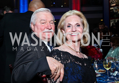 Polish Pres. Lech Walesa, Judy Kudlow. Photo by Tony Powell. The Ronald Reagan Centennial Gala. Reagan Building. May 24, 2011