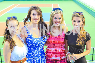 Meryl Draper, Helen Tobin, Leah Miller, Charlotte Fouch. Photo by Alfredo Flores. The Washington Kastles Wimbledon on the Water. Kastles Stadium at The Wharf. June 28, 2011