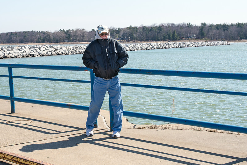 Dad trying to keep warm on Port Austin Breakwall - April 2014