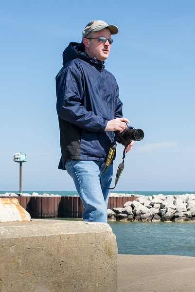 Eric looking for photo opportunities on Port Austin Breakwall - April 2014
