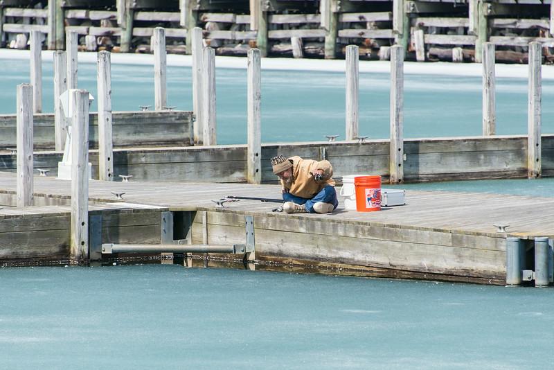 Perch Fisherman on East Tawas Breakwall - April 2014