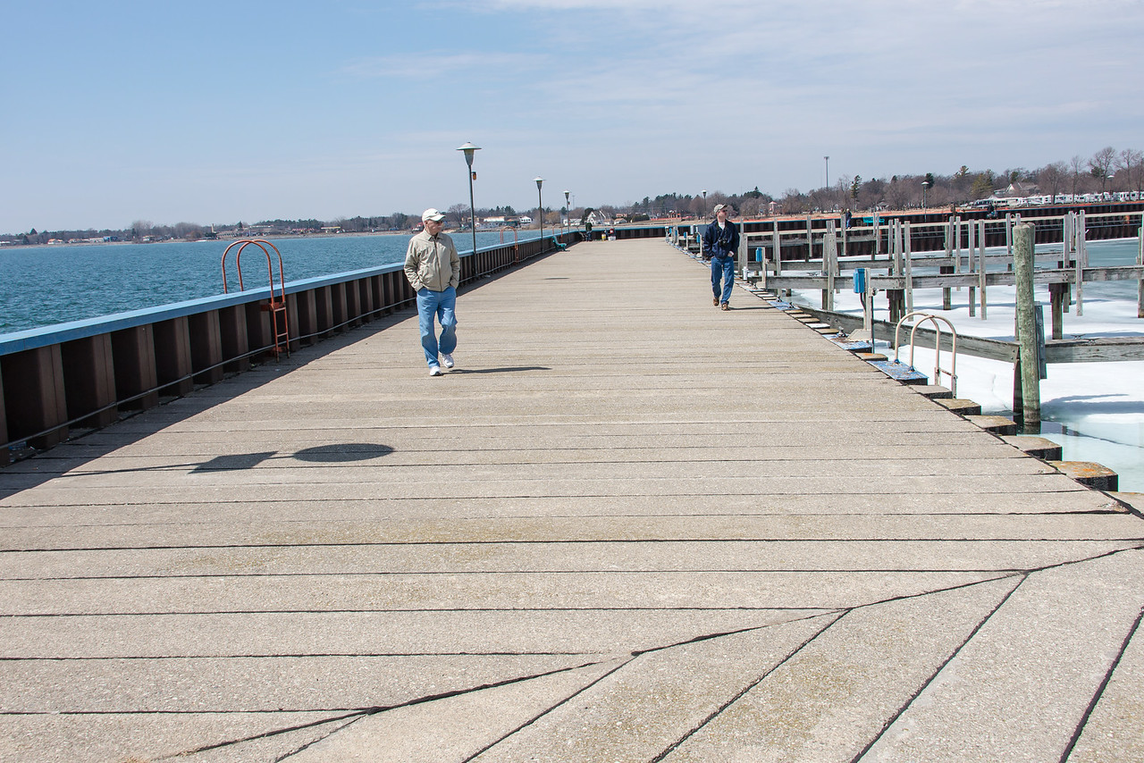 Dad and Eric on East Tawas Breakwall - April 2014