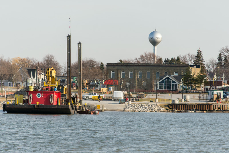 View of Port Austin Harbor during dock renovation - April 2014