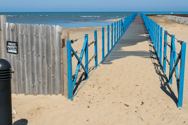 Port Austin Beach closed during Harbor renovation project - April 2014