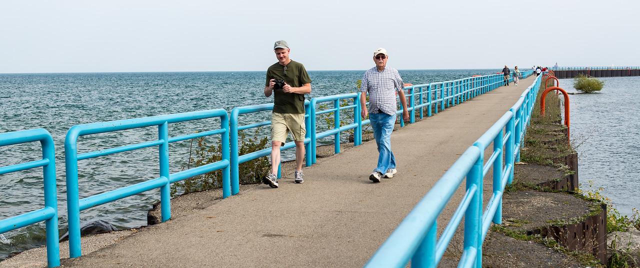 Eric and Dad on Port Austin Breakwall - September 2015
