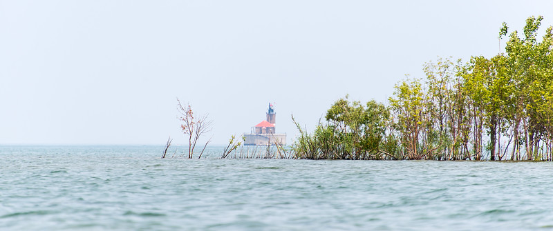 View of Port Austin Harbor lighthouse while kayaking, July 2015
