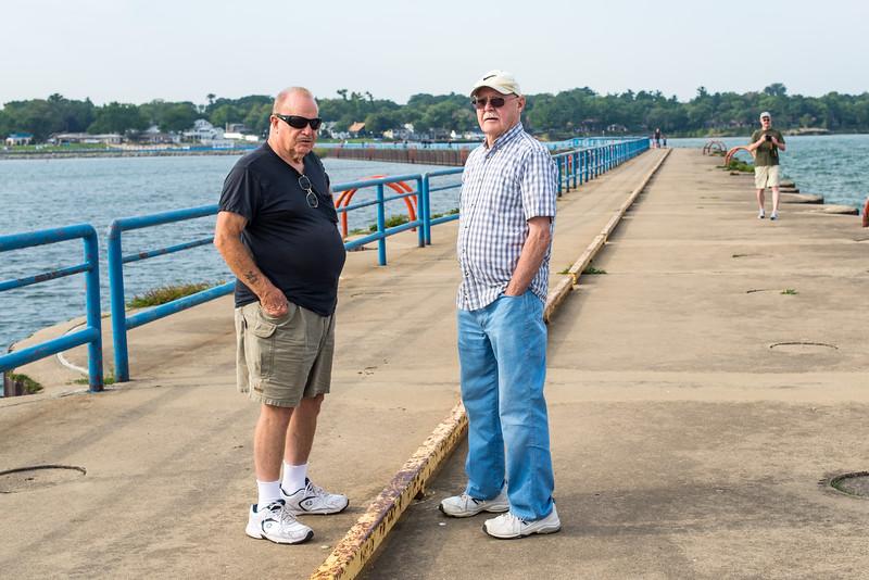 Dad and friend on Port Austin Breakwall - September 2015