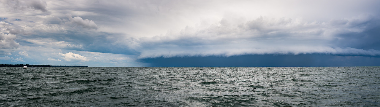 Panoramic of storm approaching from the northwest near Eagle Bay, July 2015