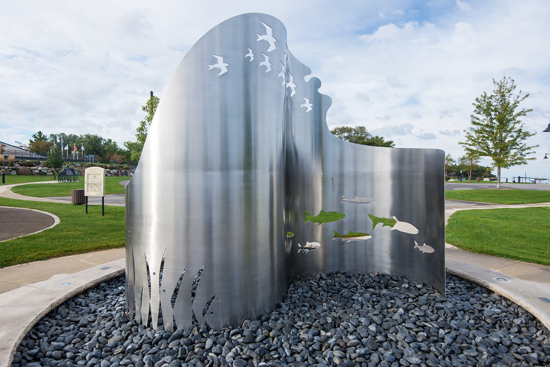 Stainless Steel Sculpture at Port Austin State Harbor - October 2015