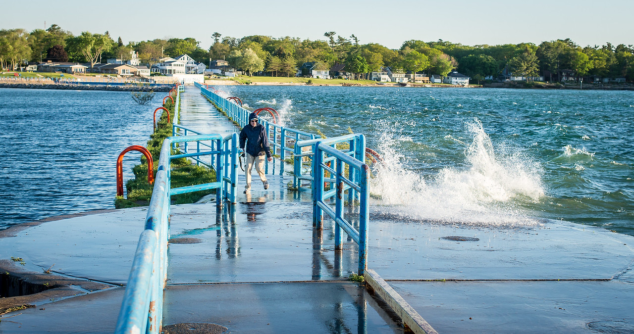 Eric dodging breakers on Port Austin Breakwall - May 2017
