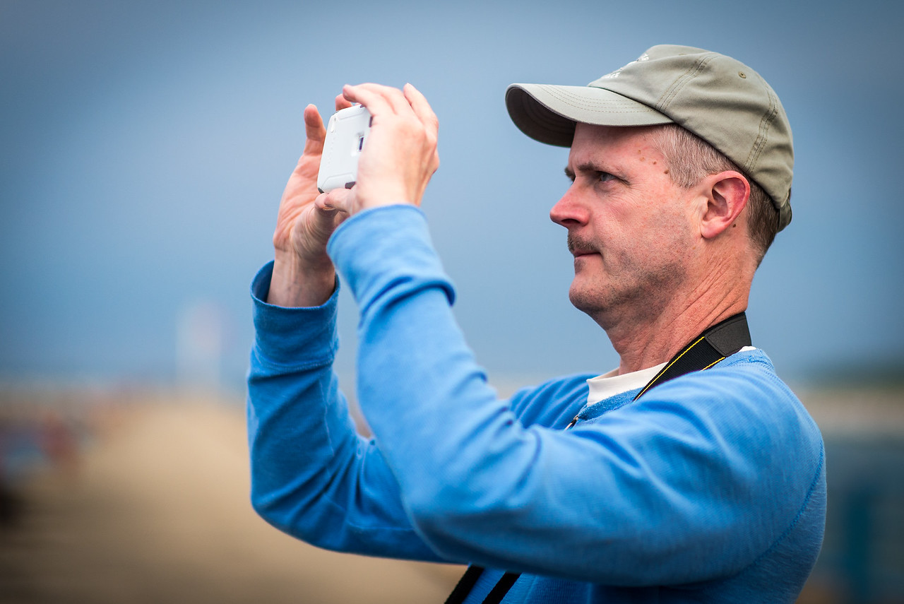Eric taking aim with his smartphone on Port Austin Breakwall, May 2017