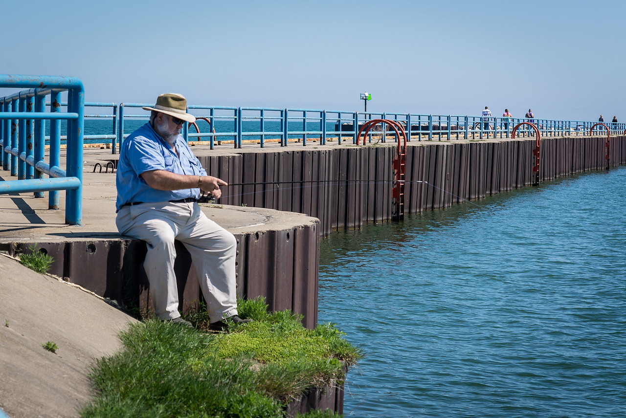 Fisherman on Port Austin Breakwall - May 2017