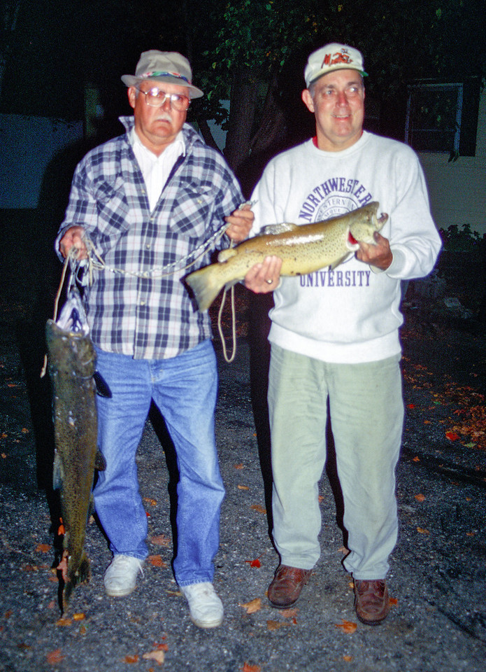 Dad and Uncle Dave with Salmon and Brown Trout - October 1998