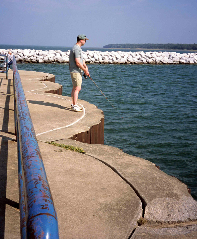 Eric fishing off Port Austin Breakwall  July 2002