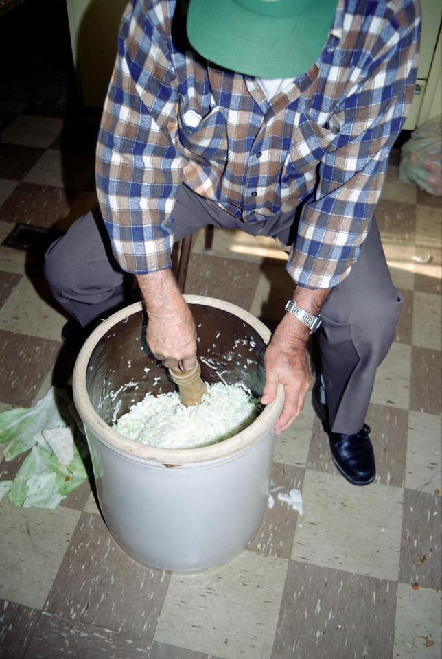 Wally making home-made Sauerkraut - October 1992