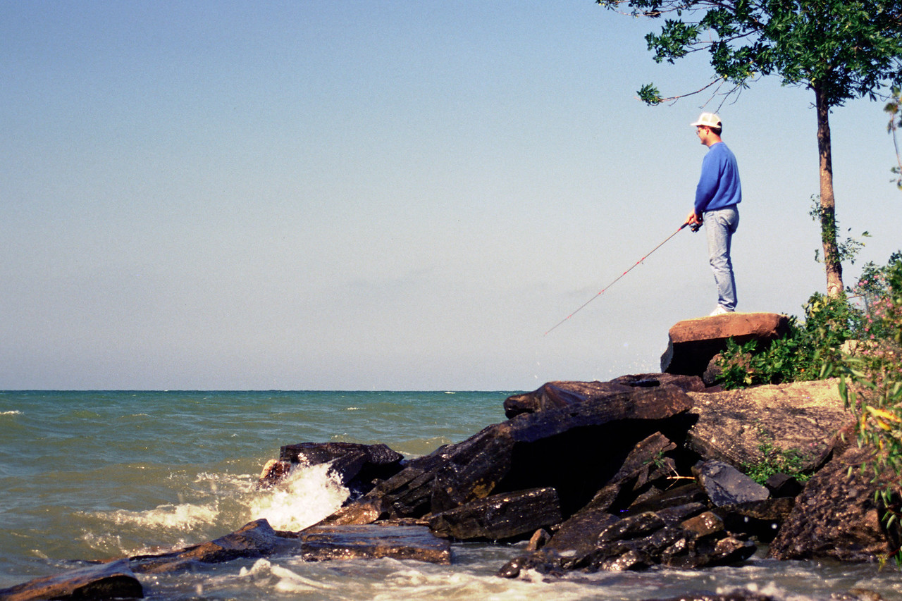 Eric fishing off short point - October 2000