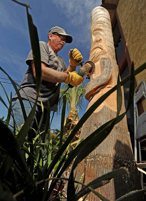 . David Shultz, aka Tiki Dave, carves a tiki out of a palm tree outside the Art House in Long Beach, CA. on Sunday, February 16, 2014. (Photo by Sean Hiller/ Daily Breeze).