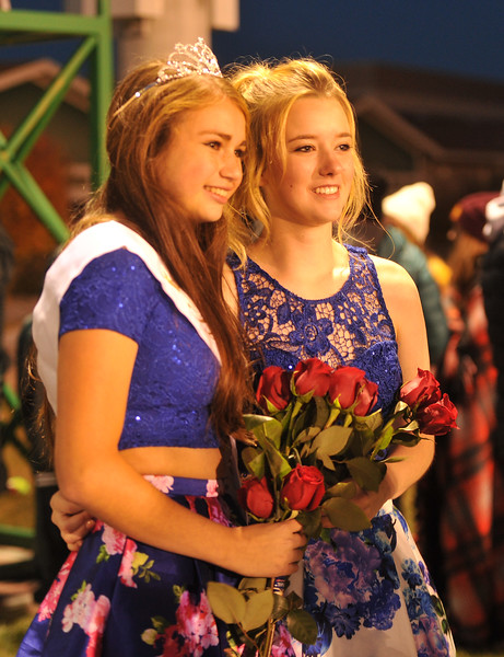 Ryan Patterson | The Sheridan Press<br /> Tongue River High School students Holly Hutchinson, left, and Dalaynie Dearcorn smile during TRHS Homecoming Week Friday, Oct. 5, 2018. Hutchinson was named Homecoming Queen and Dearcorn was a member of Homecoming Court.