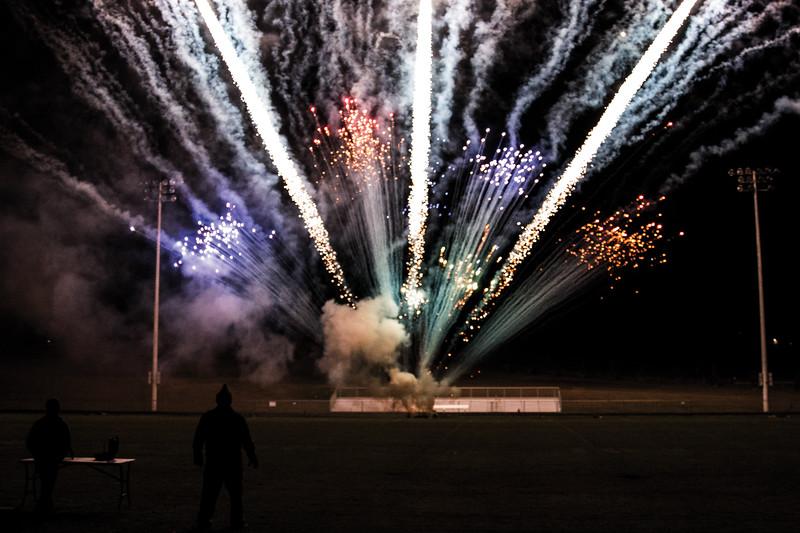 Matthew Gaston   The Sheridan Press<br>Tongue River High School's homecoming fireworks display Thursday, Oct. 4, 2018.