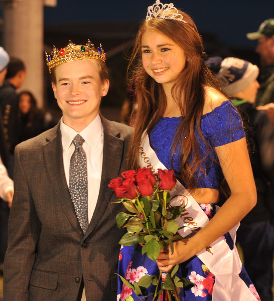 Ryan Patterson | The Sheridan Press<br /> Tongue River High School students Theron Kalasinsky, left, and Holly Hutchinson smile during TRHS Homecoming Week Friday, Oct. 5, 2018. Kalasinsky was named Homecoming King and Hutchinson was named Homecoming Queen.
