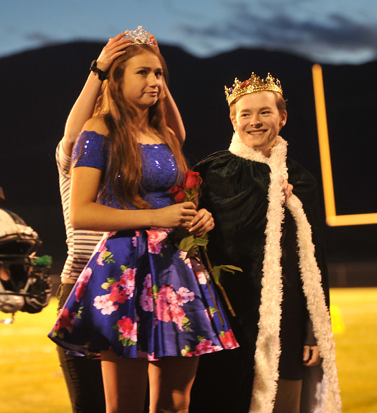 Ryan Patterson | The Sheridan Press<br /> Tongue River High School student Holly Hutchinson is named Homecoming Queen while Homecoming King Theron Kalasinsky smiles during TRHS Homecoming Week Friday, Oct. 5, 2018.