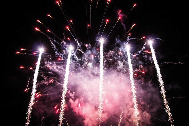 Matthew Gaston | The Sheridan Press<br>Tongue River High School, for the second year in a row, had a fireworks display on the football field for the burning of the T. R. Thursday, Oct. 4, 2018.