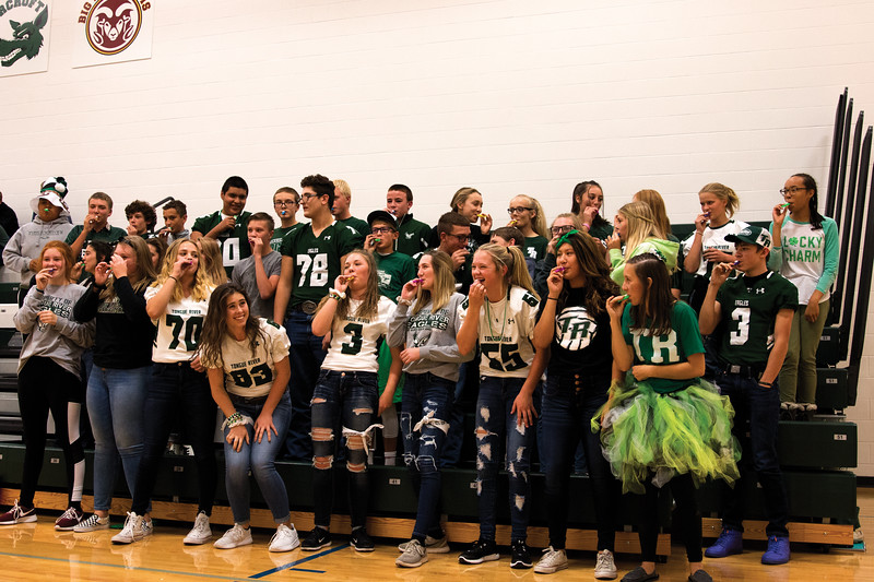 Matthew Gaston | The Sheridan Press<br>Some clever kazooing clenched a victory for the Tongue River High School Freshman during the cheer compition at the Homecoming pep rally Thursday, Oct. 4, 2018.