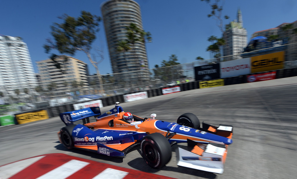 . Indycar driver Charlie Kimball drives through the hairpin Friday morning April 11, 2014 in the first practice session at the 40th Toyota Grand Prix of Long Beach.  (Will Lester/Inland Valley Daily Bulletin)