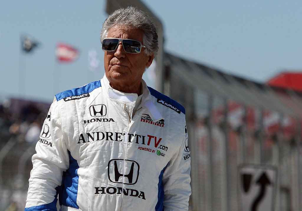 . Indycar legend Mario Andretti walks the pit lane Friday morning April 11, 2014 at the 40th Toyota Grand Prix of Long Beach.  (Will Lester/Inland Valley Daily Bulletin)