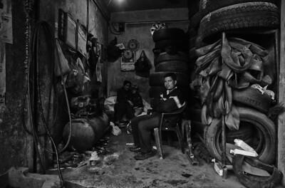 Tyre repair shop in the centre of Kathmandu.