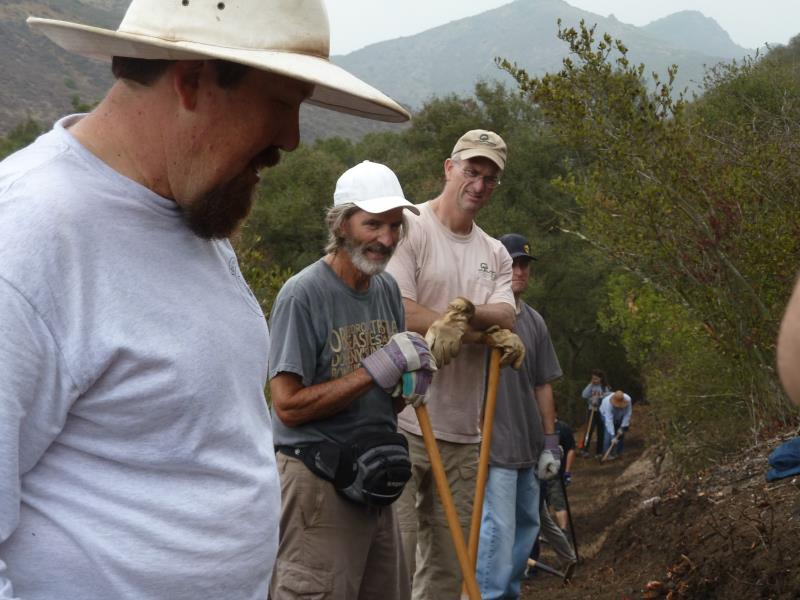 Greg Sweel, foreground, leader of Crew 4 and member of the Santa Monica Mountains Trails Council trail crew