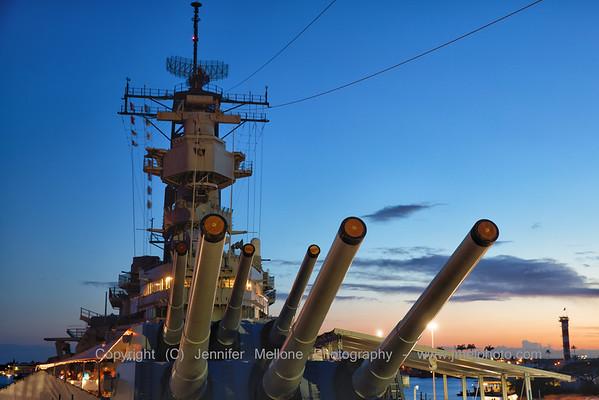 Mighty Mo's Forward Guns at Sunset